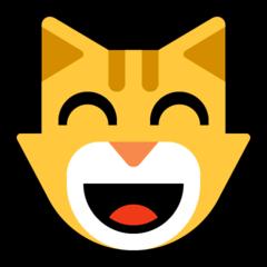Emoji Kucing Menyeringai dengan Mata Tersenyum Microsoft