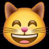 Emoji Kucing Menyeringai dengan Mata Tersenyum WhatsApp