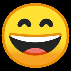 Wajah Menyeringai dengan Mata Tersenyum Google
