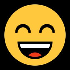 Wajah Menyeringai dengan Mata Tersenyum Microsoft