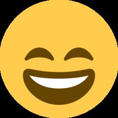 Wajah Menyeringai dengan Mata Tersenyum Twitter