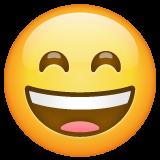 Wajah Menyeringai dengan Mata Tersenyum WhatsApp